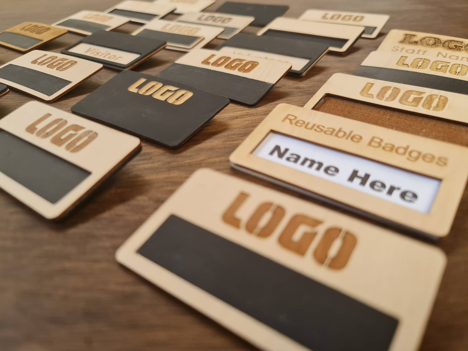 Wooden Reuable Name Badges