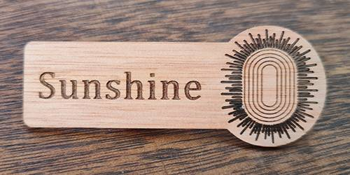 Laser Cut Wood Name Badge
