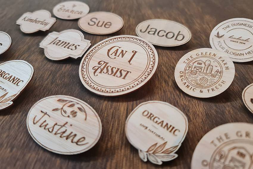 Assorted Round Wood Badges