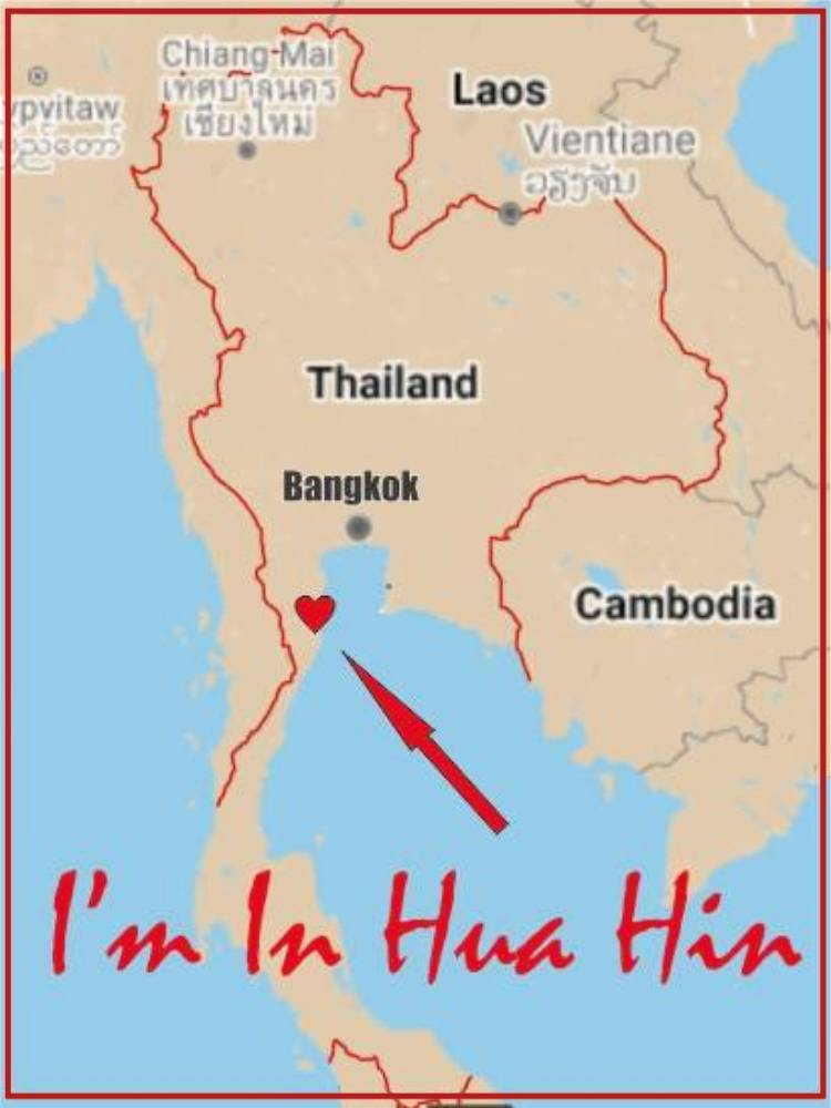 map showing the borders of Thailand and location of Hua Hin