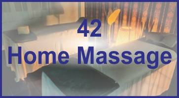 mixed colour text logo for 42 home massage