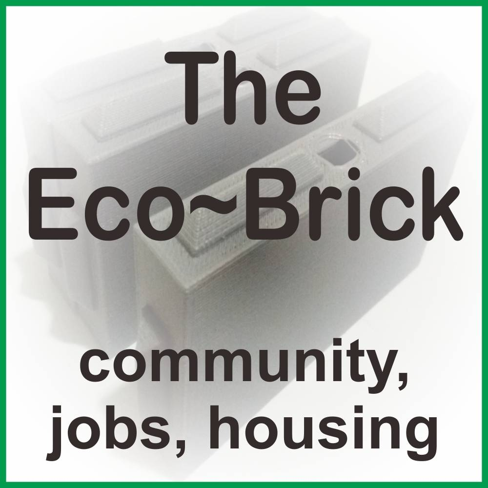 Black text reading Eco Brick with background image of bricks