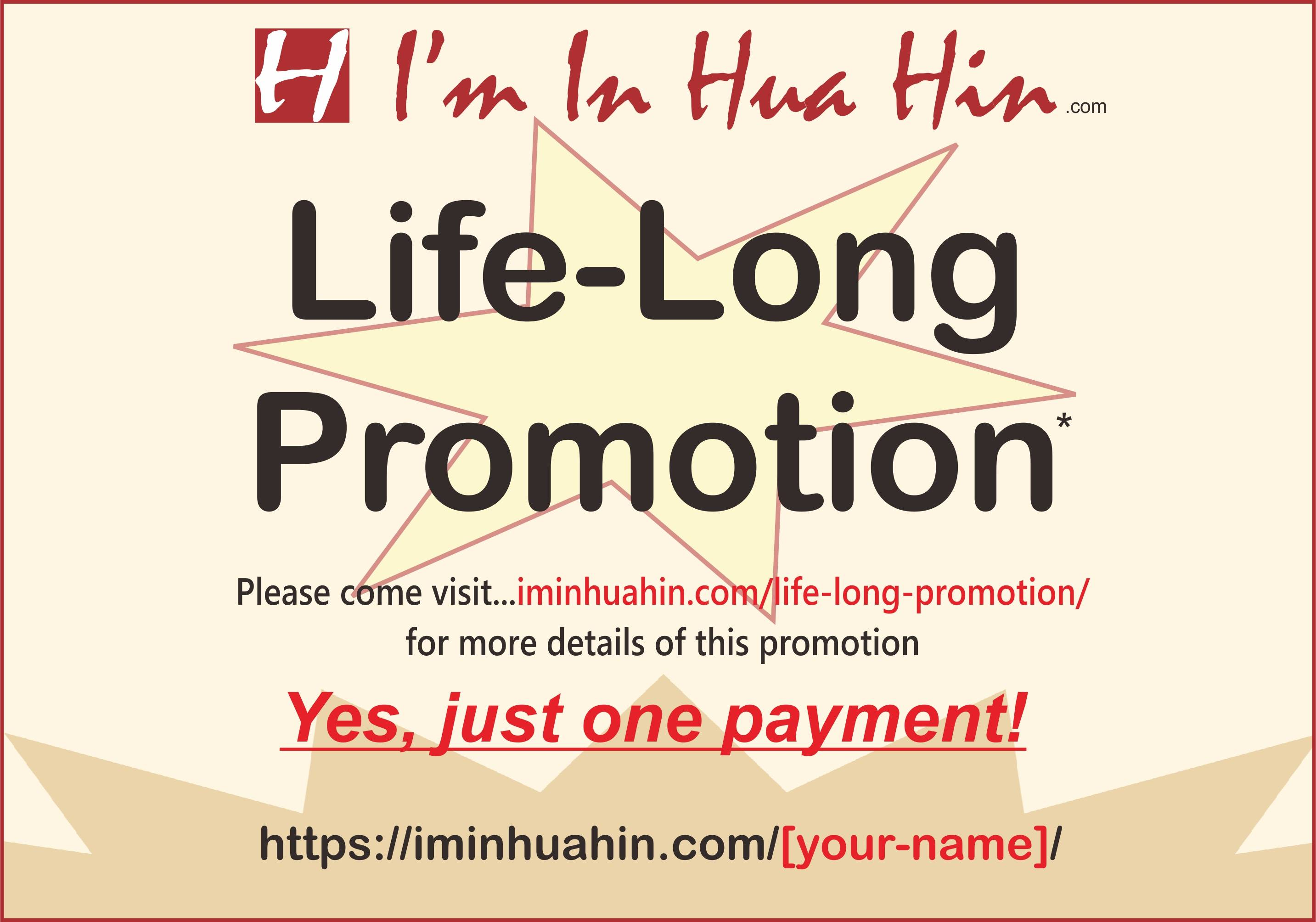 life-long promotion text with star background