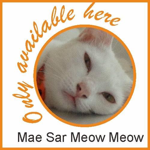 circular logo for Mae-Sar meow meow indicating point of sales