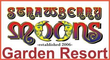 mixed colour text logo for Strawberry moons Garden resort