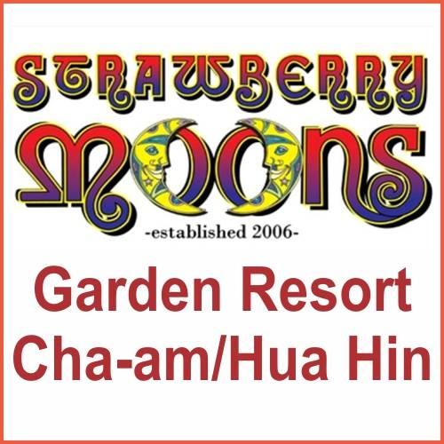mixed colour text indicating strawberry moons garden resort on iminhuahin.com