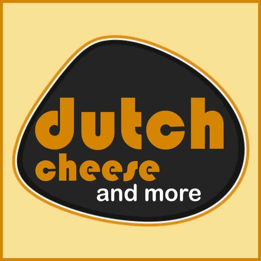 black blob-like logo of Dutch Cheese 4 You on yellow background