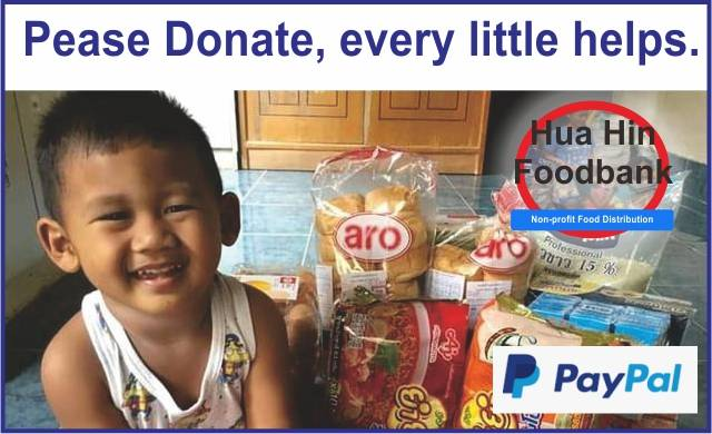 cute child thanking grandmother ms.Sue richardson for the regular food parcel from Hua Hin Foodbank