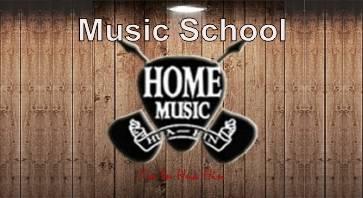 Black guitar logo for Home Music School.
