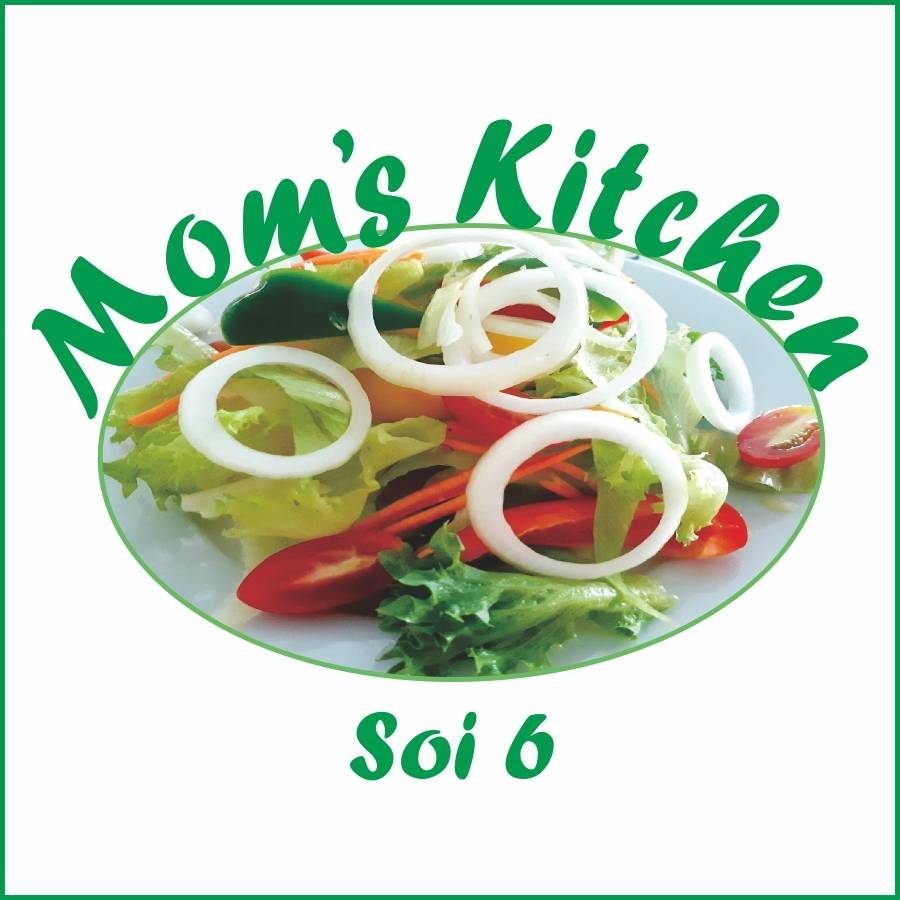 plate of salad with Mom's Kitchen logo
