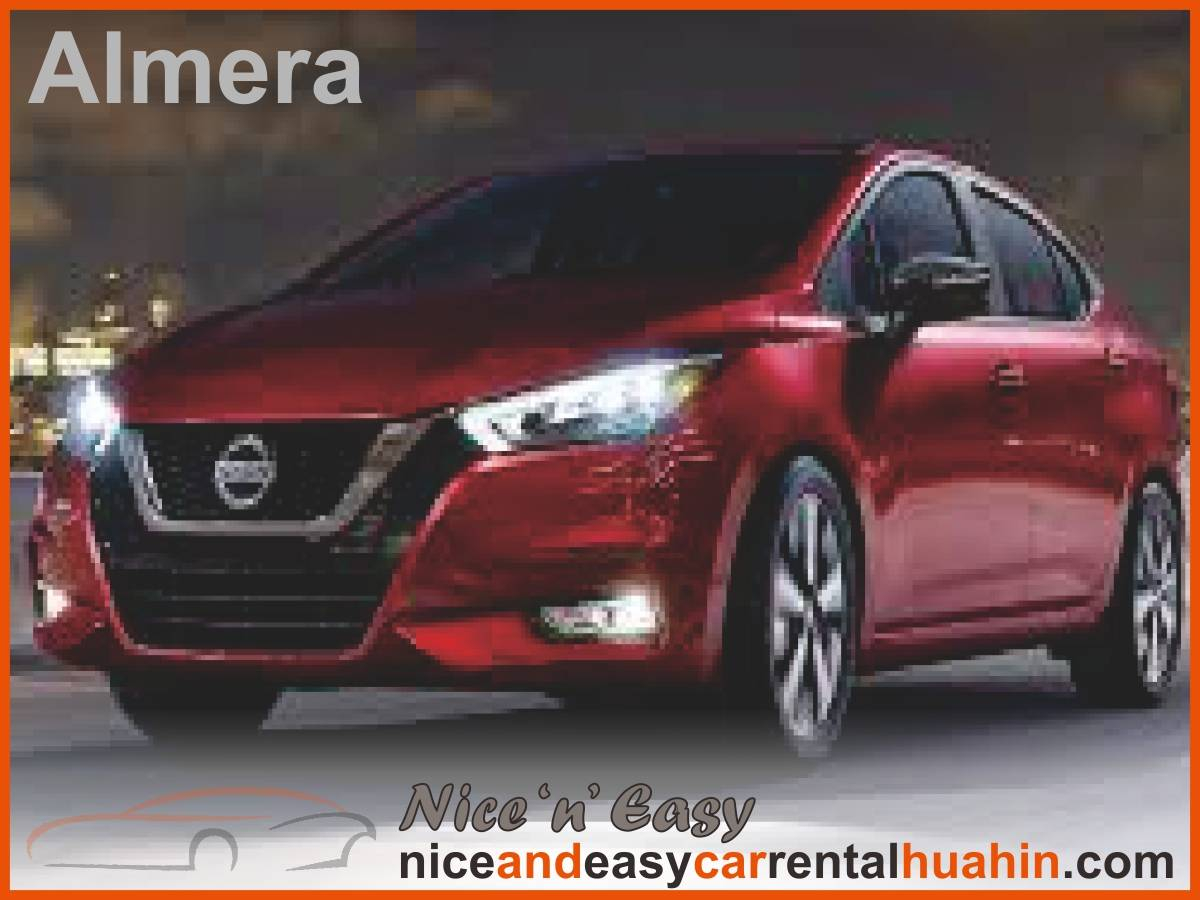 red nissan almera available for rent
