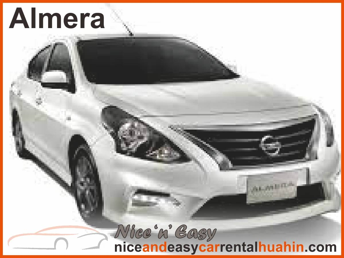 white nissan almera available for rent