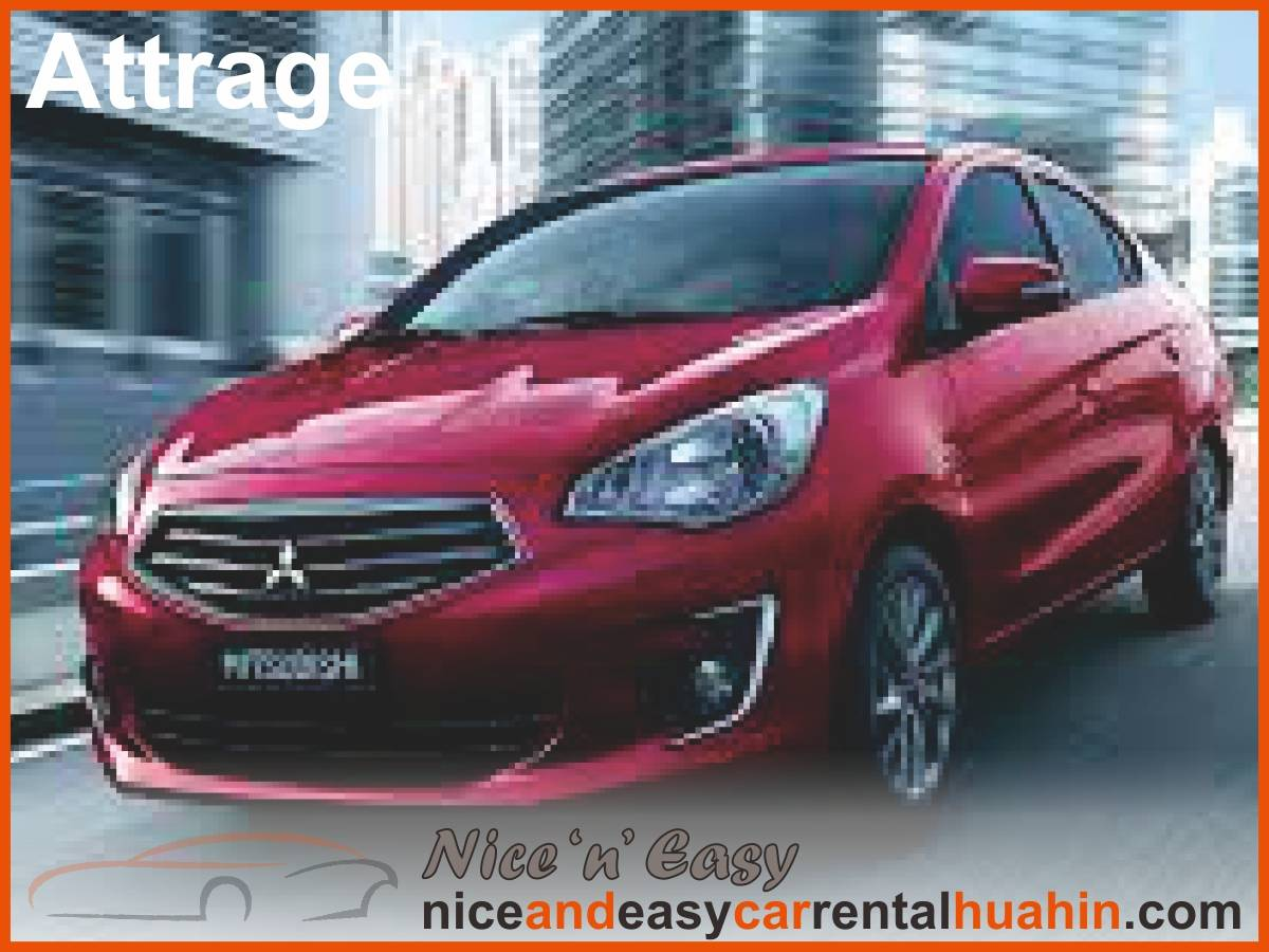 red mitsubishi attrage available for rent