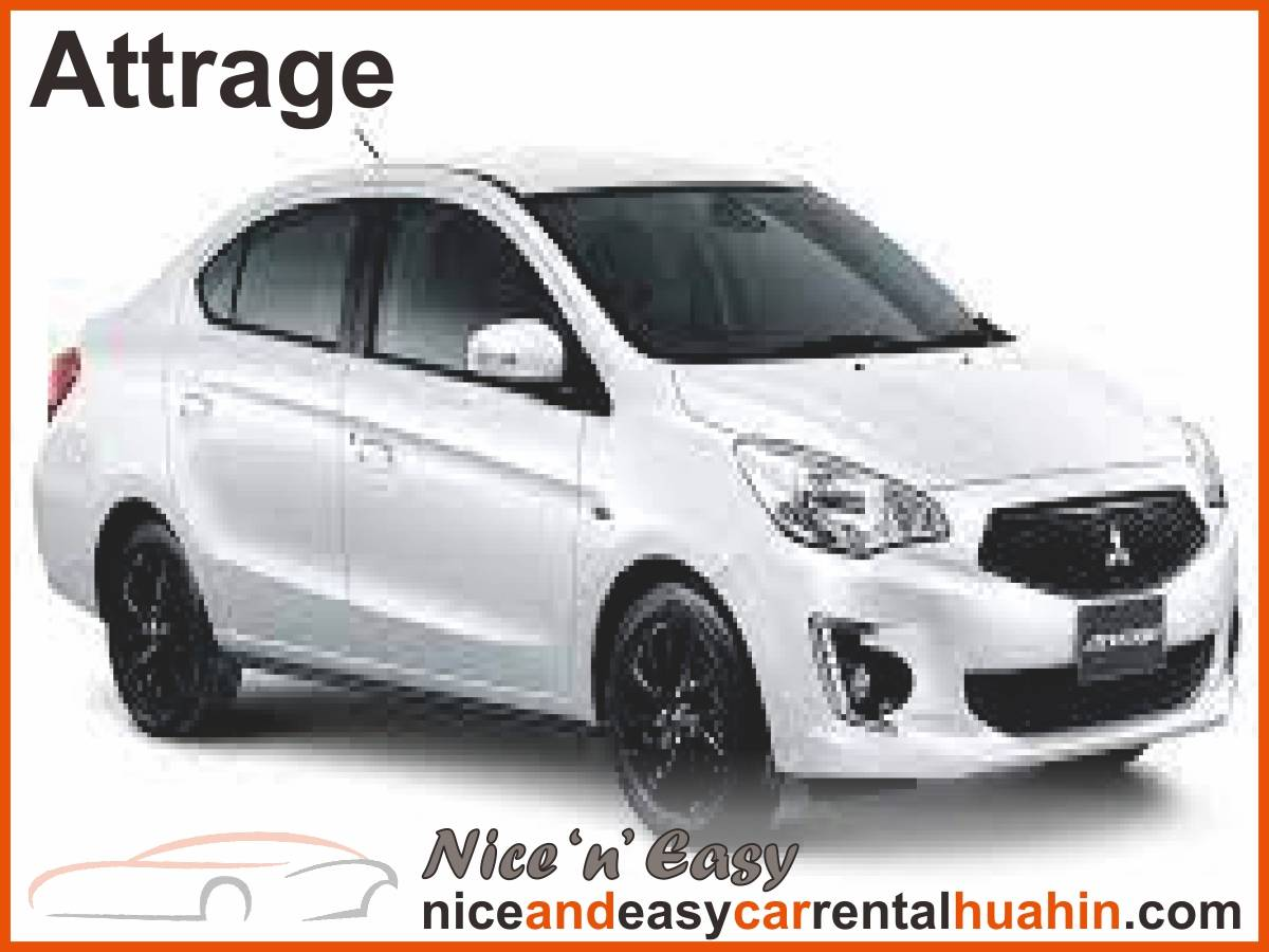 white mitsubishi attrage available for rent
