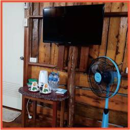 Television, floor fan and coffee station in wood bungalow