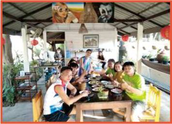 group of customers having a meal