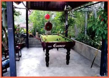 pool table in garden resort