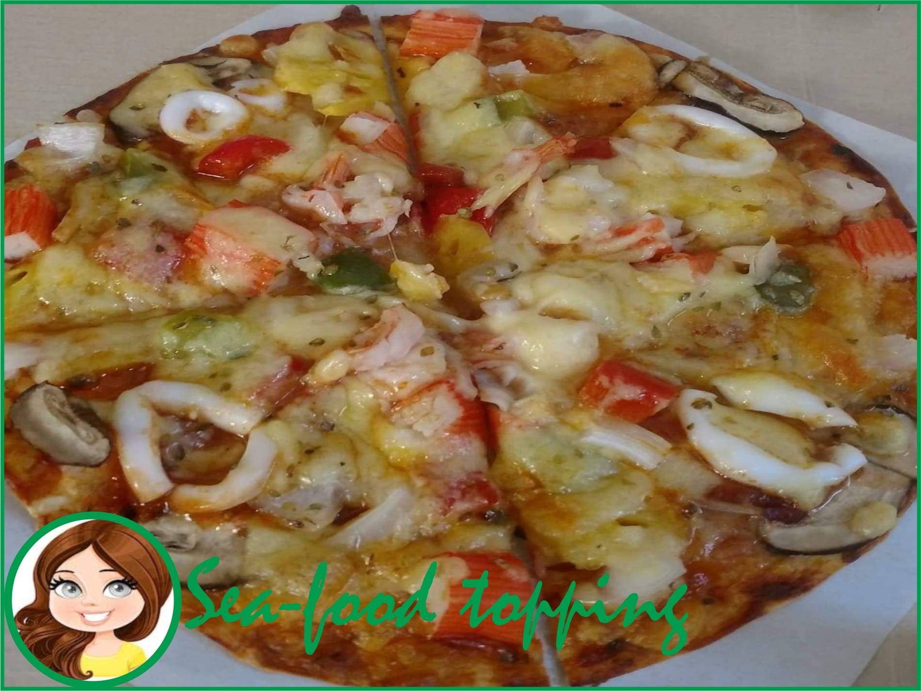 Large sea food pizza with text for Supatta pizza indicating delivery in Hua Hin