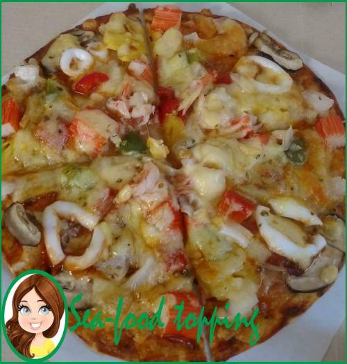 large seafood pizza available for delivery